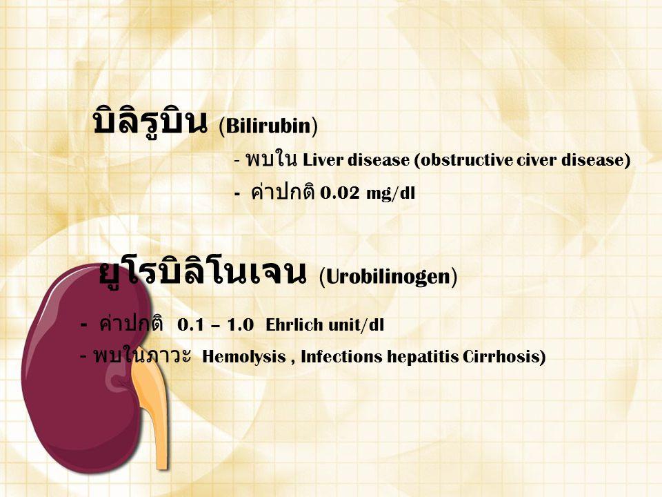 บิลิรูบิน (Bilirubin) - พบใน Liver disease (obstructive civer disease) - ค่าปกติ 0.02 mg/dl ยูโรบิลิโนเจน (Urobilinogen) - ค่าปกติ 0.1 – 1.0 Ehrlich u