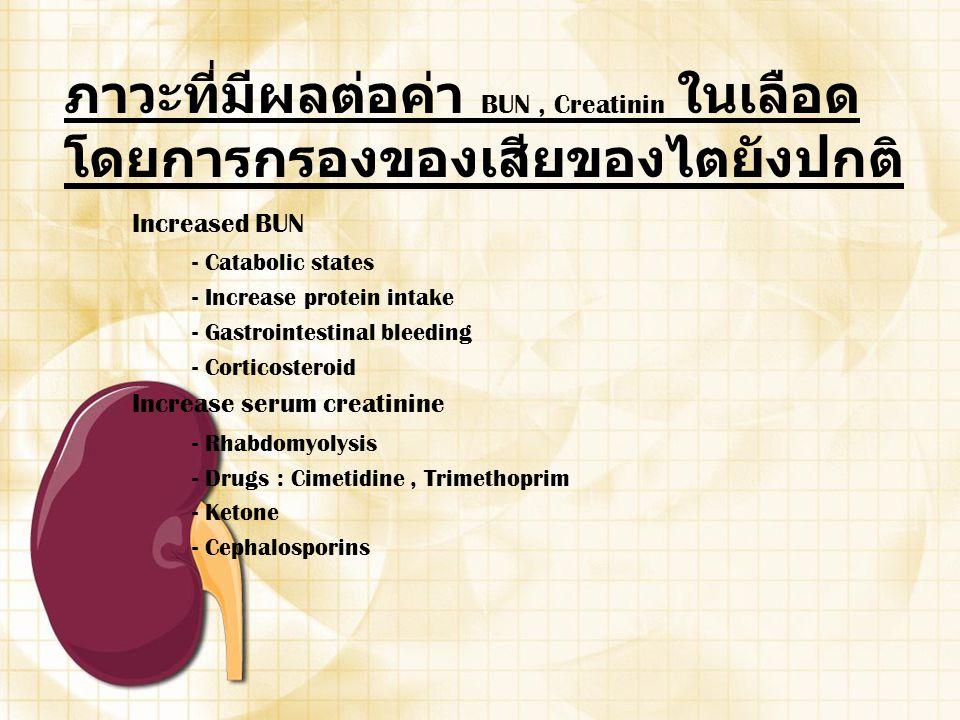 ภาวะที่มีผลต่อค่า BUN, Creatinin ในเลือด โดยการกรองของเสียของไตยังปกติ Increased BUN - Catabolic states - Increase protein intake - Gastrointestinal b