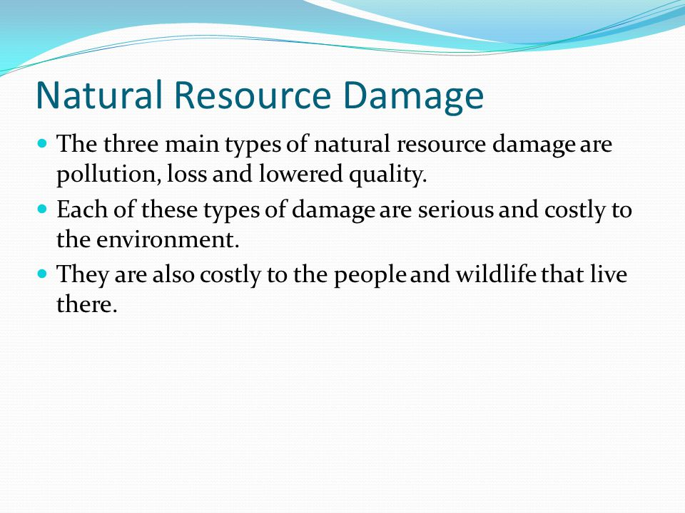Natural Resource Damage  The three main types of natural resource damage are pollution, loss and lowered quality.  Each of these types of damage are