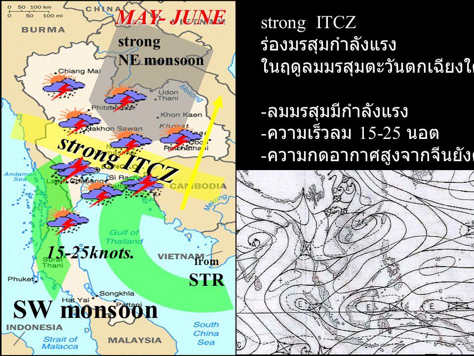strong ITCZ SW monsoon MAY- JUNE strong ITCZ ร่องมรสุมกำลังแรง ในฤดูลมมรสุมตะวันตกเฉียงใต้ - ลมมรสุมมีกำลังแรง - ความเร็วลม 15-25 นอต - ความกดอากาศสูง
