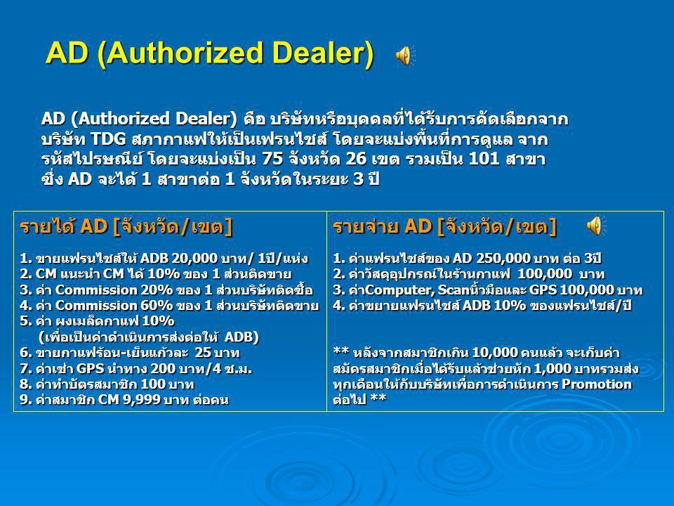 AD (Authorized Dealer) AD (Authorized Dealer) คือ บริษัทหรือบุคคลที่ได้รับการคัดเลือกจาก บริษัท TDG สภากาแฟให้เป็นเฟรนไชส์ โดยจะแบ่งพื้นที่การดูแล จาก