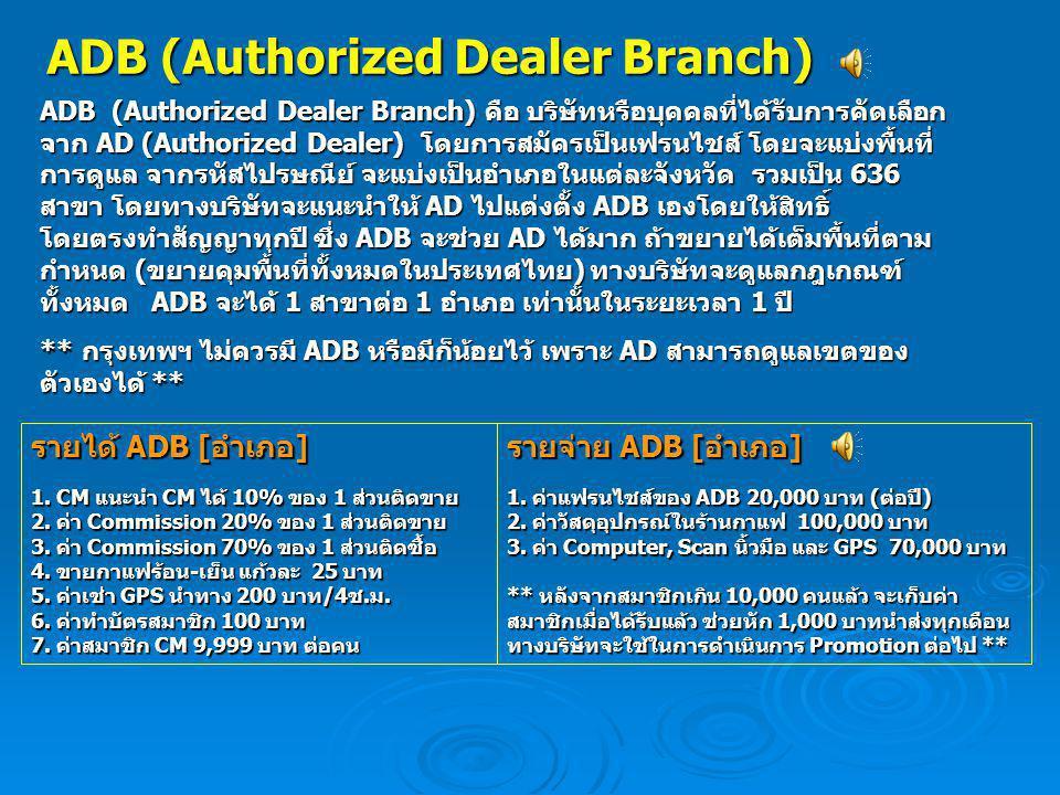 ADB (Authorized Dealer Branch) ADB (Authorized Dealer Branch) คือ บริษัทหรือบุคคลที่ได้รับการคัดเลือก จาก AD (Authorized Dealer) โดยการสมัครเป็นเฟรนไช