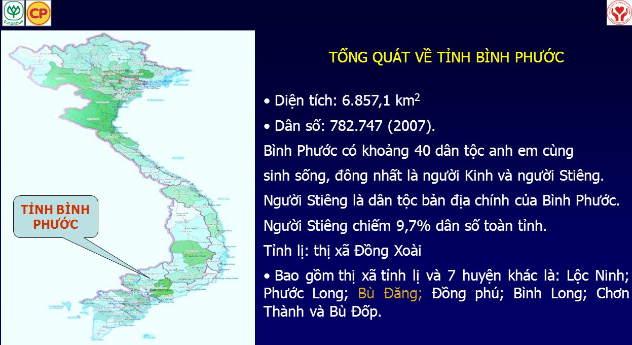 TỈNH BÌNH PHƯỚC TỔNG QUÁT VỀ TỈNH BÌNH PHƯỚC 2 • Diện tích: 6.857,1 km 2 • Dân số: 782.747 (2007). Bình Phước có khoảng 40 dân tộc anh em cùng sinh số