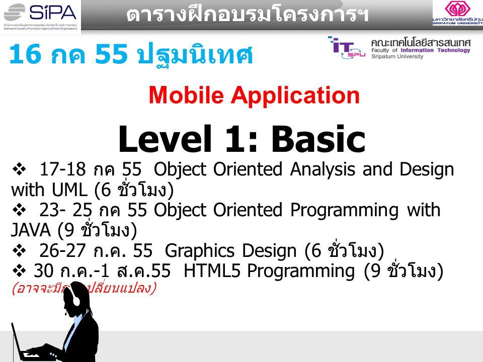 ตารางฝึกอบรมโครงการฯ Level 1: Basic  17-18 กค 55 Object Oriented Analysis and Design with UML (6 ชั่วโมง )  23- 25 กค 55 Object Oriented Programming with JAVA (9 ชั่วโมง )  26-27 ก.