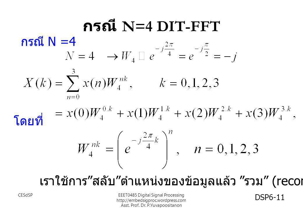 """กรณี N=4 DIT-FFT กรณี N =4 โดยที่ เราใช้การ """" สลับ """" ตำแหน่งของข้อมูลแล้ว """" รวม """" (recomposite) CESdSP DSP6-11 EEET0485 Digital Signal Processing http"""