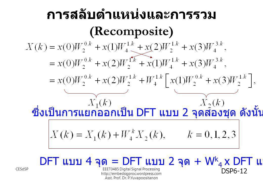 การสลับตำแหน่งและการรวม (Recomposite) DFT แบบ 4 จุด = DFT แบบ 2 จุด + W k 4 x DFT แบบ 2 จุด ซึ่งเป็นการแยกออกเป็น DFT แบบ 2 จุดสองชุด ดังนั้น CESdSP D