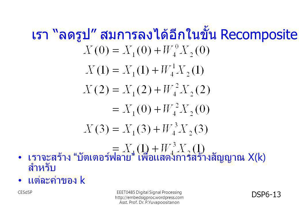 """เรา """" ลดรูป """" สมการลงได้อีกในขั้น Recomposite • เราจะสร้าง """" บัตเตอร์ฟลาย """" เพื่อแสดงการสร้างสัญญาณ X(k) สำหรับ • แต่ละค่าของ k CESdSP DSP6-13 EEET048"""