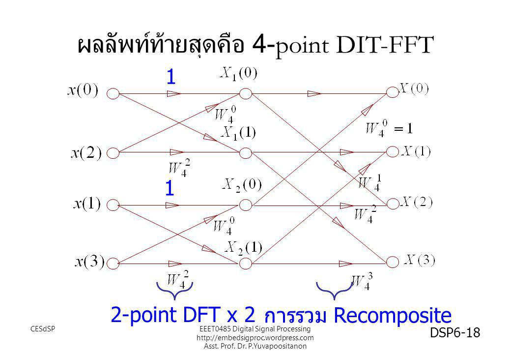 ผลลัพท์ท้ายสุดคือ 4-point DIT-FFT 1 1 การรวม Recomposite 2-point DFT x 2 CESdSP DSP6-18 EEET0485 Digital Signal Processing http://embedsigproc.wordpre
