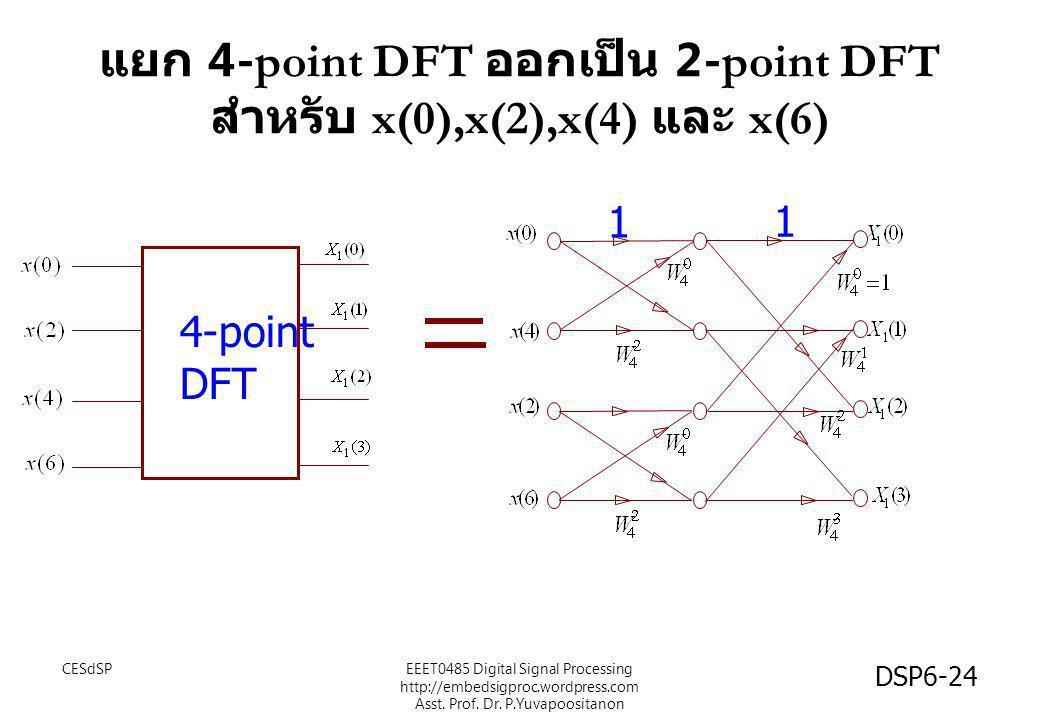 แยก 4-point DFT ออกเป็น 2-point DFT สำหรับ x(0),x(2),x(4) และ x(6) 4-point DFT 1 1 CESdSP DSP6-24 EEET0485 Digital Signal Processing http://embedsigpr