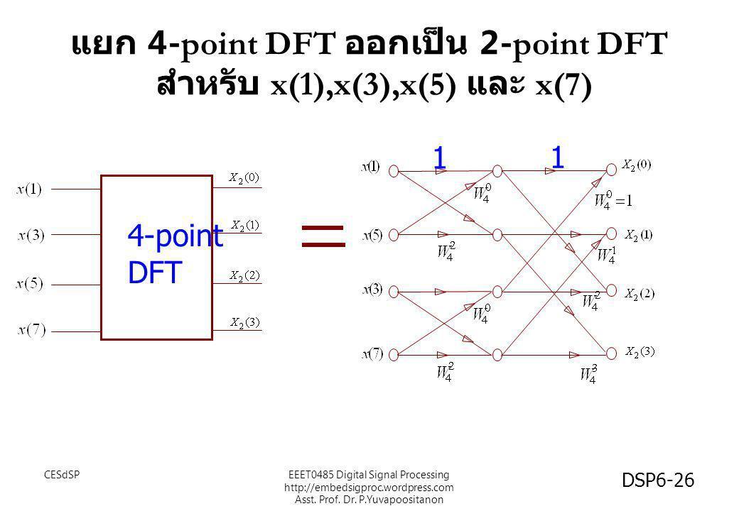 แยก 4-point DFT ออกเป็น 2-point DFT สำหรับ x(1),x(3),x(5) และ x(7) 4-point DFT 1 1 CESdSP DSP6-26 EEET0485 Digital Signal Processing http://embedsigpr