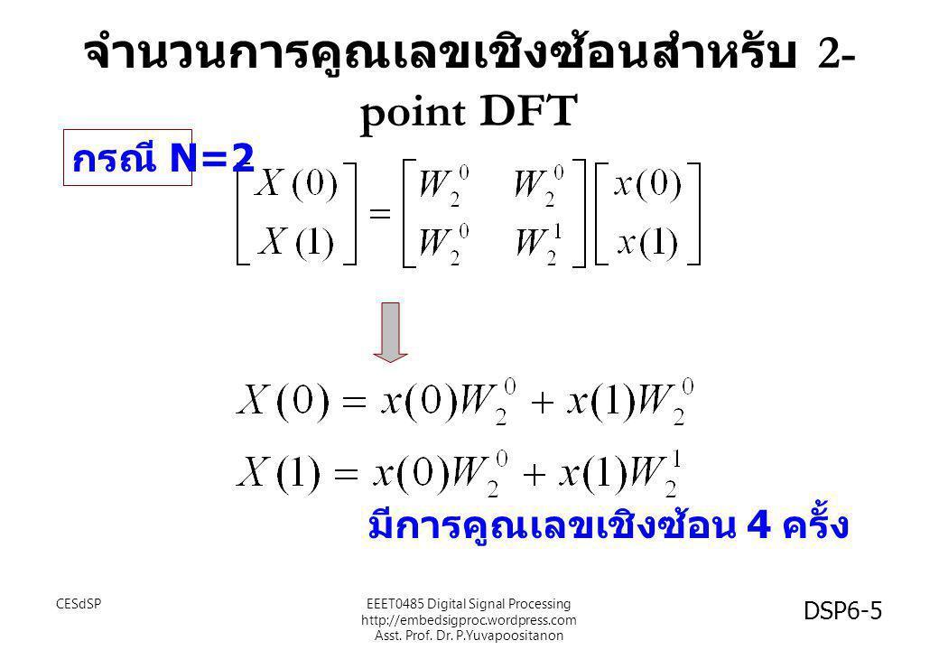 จำนวนการคูณเลขเชิงซ้อนสำหรับ 2- point DFT กรณี N=2 มีการคูณเลขเชิงซ้อน 4 ครั้ง CESdSP DSP6-5 EEET0485 Digital Signal Processing http://embedsigproc.wo