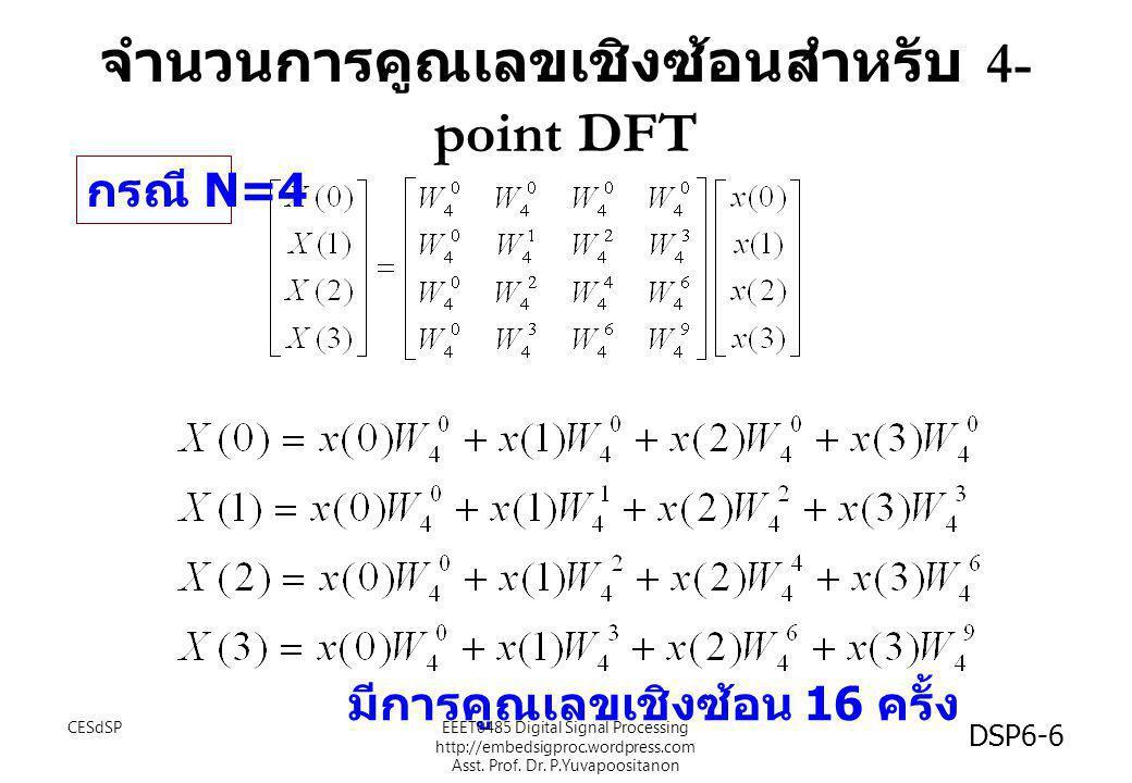 จำนวนการคูณเลขเชิงซ้อนสำหรับ 4- point DFT มีการคูณเลขเชิงซ้อน 16 ครั้ง กรณี N=4 CESdSP DSP6-6 EEET0485 Digital Signal Processing http://embedsigproc.w