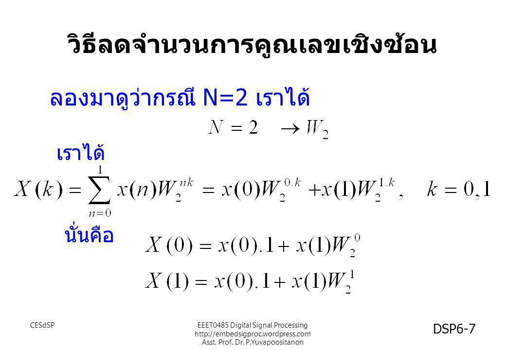 วิธีลดจำนวนการคูณเลขเชิงซ้อน ( ต่อ ) โดยการคำนวณ W N ไว้ก่อน จะทำให้ลดการคูณเลขลง ซึ่งอาจจะทำให้ไม่มีการคูณเลขเชิงซ้อนเลย !!.
