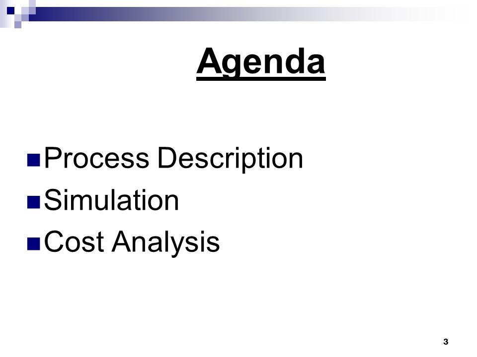 3 Agenda  Process Description  Simulation  Cost Analysis