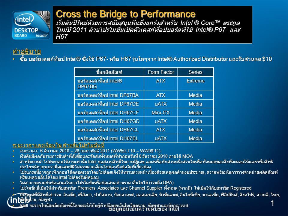1 ข้อมูลอันเป็นความลับของ Intel คำอธิบาย • ซื้อ บอร์ดเดสก์ท็อป Intel® ซึ่งใช้ P67- หรือ H67 รุ่นใดๆจาก Intel® Authorized Distributor และรับส่วนลด $10 ระยะเวลาและเงื่อนไข สำหรับโปรโมชั่นนี้ • ระยะเวลา : 6 ธันวาคม 2010 – 26 กุมภาพันธ์ 2011 (WW50.1'10 – WW09'11) • เงินคืนมีผลกับรายการสินค้าที่สั่งซื้อและจัดส่งทั้งหมดที่ทำก่อนวันที่ 6 ธันวาคม 2010 ภายใต้ MOA • สำหรับการนำไปประกอบใช้งานเท่านั้น Intel ขอสงวนสิทธิ์ในการปฏิเสธ และ / หรือหักส่วนหนึ่งส่วนใดหรือทั้งหมดของสิ่งที่จะมอบให้และ / หรือสิทธิ ประโยชน์หากพบว่ามีคุณสมบัติไม่ครบตามเงื่อนไขข้อหนึ่งข้อใดที่เกี่ยวข้อง • โปรแกรมนี้อาจถูกเพิกถอนได้ตลอดเวลาโดยไม่ต้องแจ้งให้ทราบล่วงหน้าเนื่องด้วยเหตุผลด้านงบประมาณ, ความพร้อมในการวางจำหน่ายผลิตภัณฑ์ หรือเหตุผลอื่นใดโดย Intel ไม่ต้องรับผิดชอบ • ไม่สามารถรวมกับข้อเสนอในการโปรโมชั่นหรือข้อเสนอด้านราคาอื่นใดได้ ( รวมถึง DPA) • โปรโมชั่นนี้เปิดให้สำหรับสมาชิก Premiers, Associates และ Channel Supplier ทั้งหมด ( หากมี ) ไม่เปิดให้กับสมาชิก Registered • ประเทศที่มีสิทธิ์เข้าร่วม : อินเดีย, ศรีลังกา, ปากีสถาน, บังกลาเทศ, ออสเตรเลีย, นิวซีแลนด์, อินโดนีเซีย, มาเลเซีย, ฟิลิปปินส์, สิงคโปร์, เกาหลี, ไทย, เวียดนาม, กัมพูชา •Intel จะจ่ายโบนัสผลิตภัณฑ์นี้โดยตรงให้กับผู้ค้าปลีกยกเว้นในเวียดนาม, กัมพูชาและบังกลาเทศ Cross the Bridge to Performance เริ่มต้นปีใหม่ด้วยการสนับสนุนที่แข็งแกร่งสำหรับ Intel ® Core™ ตระกูล ใหม่ปี 2011 ด้วยโปรโมชั่นเปิดตัวเดสก์ท็อปบอร์ดที่ใช้ Intel® P67- และ H67 ชื่อผลิตภัณฑ์ Form Factor Series บอร์ดเดสก์ท็อป Intel® DP67BG ATXExtreme บอร์ดเดสก์ท็อป Intel DP67BA ATXMedia บอร์ดเดสก์ท็อป Intel DP67DE uATXMedia บอร์ดเดสก์ท็อป Intel DH67CF Mini-ITXMedia บอร์ดเดสก์ท็อป Intel DH67GD uATXMedia บอร์ดเดสก์ท็อป Intel DH67CL ATXMedia บอร์ดเดสก์ท็อป Intel DH67BL uATXMedia