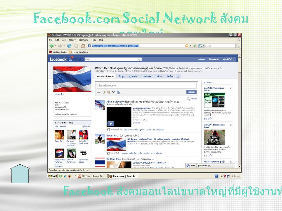 Facebook.com Social Network ส ังคม ออนไลน์ Facebook ส ังคมออนไลน์ขนาดใหญ่ที่มีผู้ใช้งานทั่วโลก