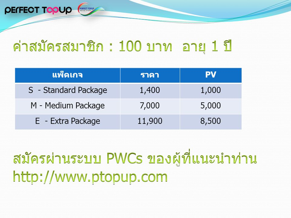 แพ็คเกจราคาPV S - Standard Package1,4001,000 M - Medium Package7,0005,000 E - Extra Package11,9008,500