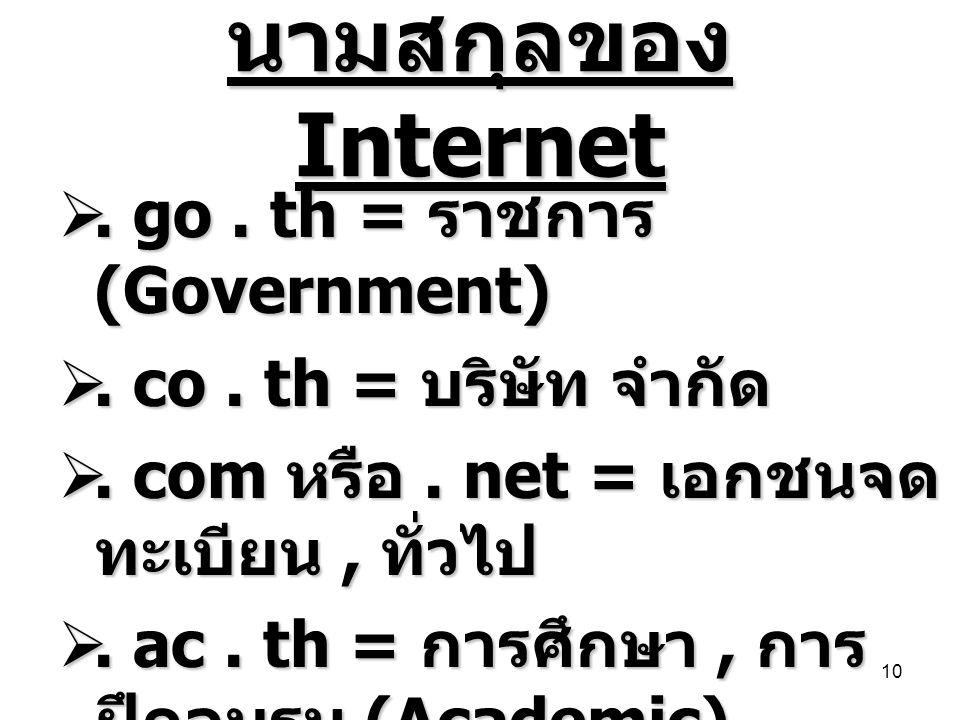 นามสกุลของ Internet . go. th = ราชการ (Government) . co. th = บริษัท จำกัด . com หรือ. net = เอกชนจด ทะเบียน, ทั่วไป . ac. th = การศึกษา, การ ฝึกอ