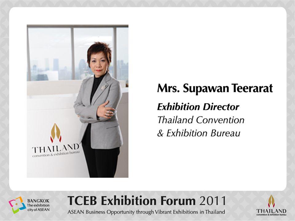 วัตถุประสงค์หลักที่เข้ามาชมงาน (Purpose of Visit) Exhibitions Supported by TCEB : Visitor Statistics in 2010 Exhibitions Supported by TCEB : Visitor Statistics in 2010 กราฟแสดงสัดส่วนผู้เข้าชมงาน จำแนกตามวัตถุประสงค์หลักที่เข้ามาชมงาน Source :Post-show Report of Exhibitions Supported by TCEB 24.3% 24.5% 12.9% 13.0% 16.1% Search for the latest technologies Gather information and seek new products Place purchase orders Observe the show with purchase intentions Obtain the information to place orders Look for new alternative supplier Evaluate show for future participation Seek representative View and recommend to decision maker Investment Networking / Personal Development Participate the seminar / conference Others 10.6% 7.4% 3.9% 2.2% 0.5% [ 1.6% ] 1.6% 0.4%