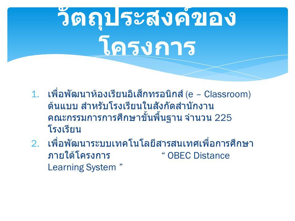 1. เพื่อพัฒนาห้องเรียนอิเส็กทรอนิกส์ (e – Classroom) ต้นแบบ สำหรับโรงเรียนในสังกัดสำนักงาน คณะกรรมการการศึกษาขั้นพื้นฐาน จำนวน 225 โรงเรียน 2. เพื่อพั