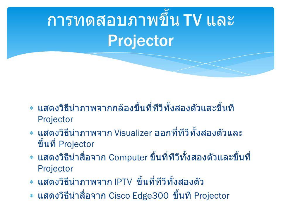  แสดงวิธีนำภาพจากกล้องขึ้นที่ทีวีทั้งสองตัวและขึ้นที่ Projector  แสดงวิธีนำภาพจาก Visualizer ออกที่ทีวีทั้งสองตัวและ ขึ้นที่ Projector  แสดงวิธีนำส