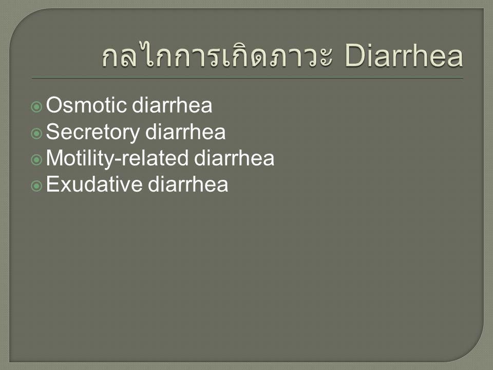  Osmotic diarrhea  Secretory diarrhea  Motility-related diarrhea  Exudative diarrhea
