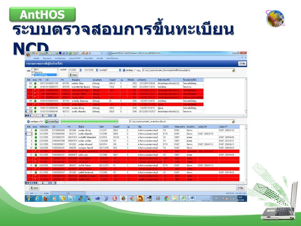 ระบบตรวจสอบการขึ้นทะเบียน NCD AntHOS