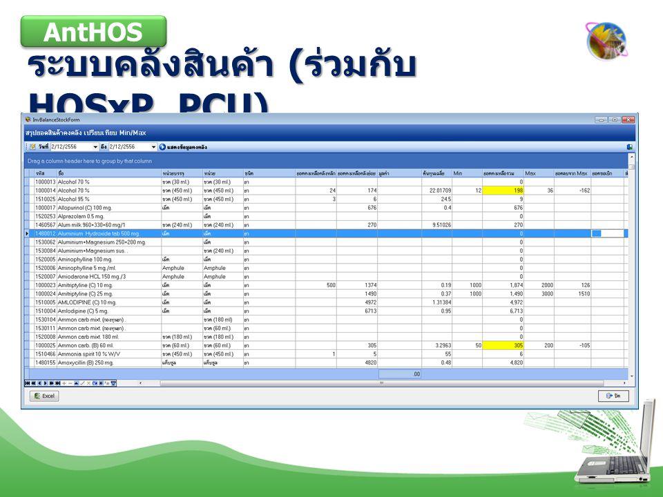 ระบบคลังสินค้า ( ร่วมกับ HOSxP_PCU) AntHOS