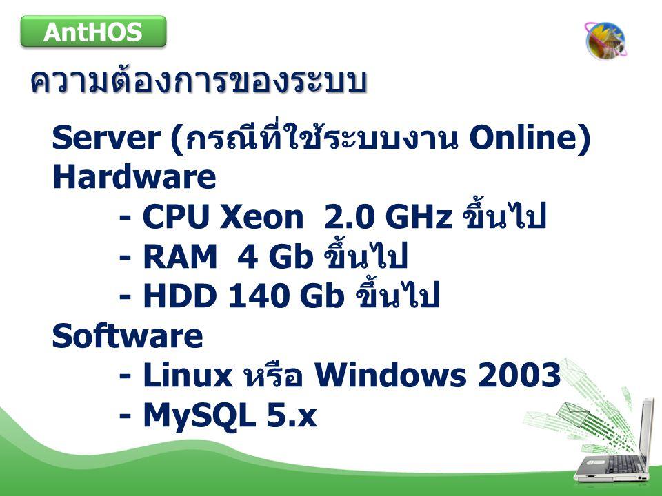 ระบบงานที่มีในโปรแกรม AntHOS