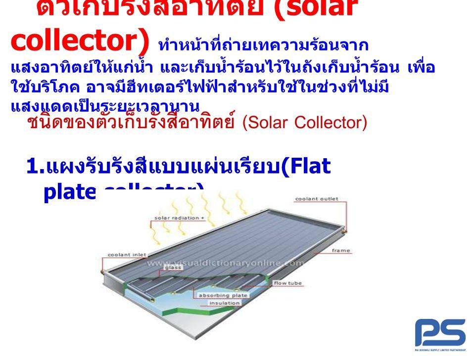 ตัวเก็บรังสีอาทิตย์ (solar collector) ทำหน้าที่ถ่ายเทความร้อนจาก แสงอาทิตย์ให้แก่น้ำ และเก็บน้ำร้อนไว้ในถังเก็บน้ำร้อน เพื่อ ใช้บริโภค อาจมีฮีทเตอร์ไฟ