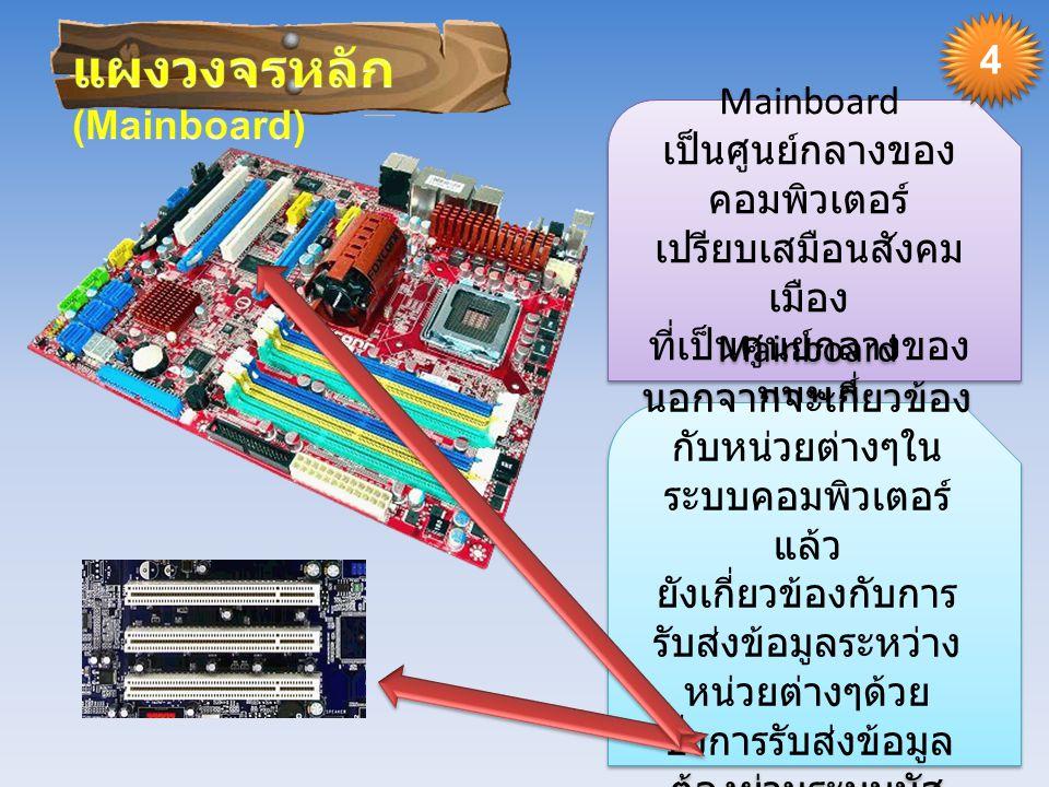 Mainboard เป็นศูนย์กลางของ คอมพิวเตอร์ เปรียบเสมือนสังคม เมือง ที่เป็นศูนย์กลางของ มนุษย์ Mainboard เป็นศูนย์กลางของ คอมพิวเตอร์ เปรียบเสมือนสังคม เมือง ที่เป็นศูนย์กลางของ มนุษย์ Mainboard นอกจากจะเกี่ยวข้อง กับหน่วยต่างๆใน ระบบคอมพิวเตอร์ แล้ว ยังเกี่ยวข้องกับการ รับส่งข้อมูลระหว่าง หน่วยต่างๆด้วย ซึ่งการรับส่งข้อมูล ต้องผ่านระบบบัส (Bus) Mainboard นอกจากจะเกี่ยวข้อง กับหน่วยต่างๆใน ระบบคอมพิวเตอร์ แล้ว ยังเกี่ยวข้องกับการ รับส่งข้อมูลระหว่าง หน่วยต่างๆด้วย ซึ่งการรับส่งข้อมูล ต้องผ่านระบบบัส (Bus) 4 4