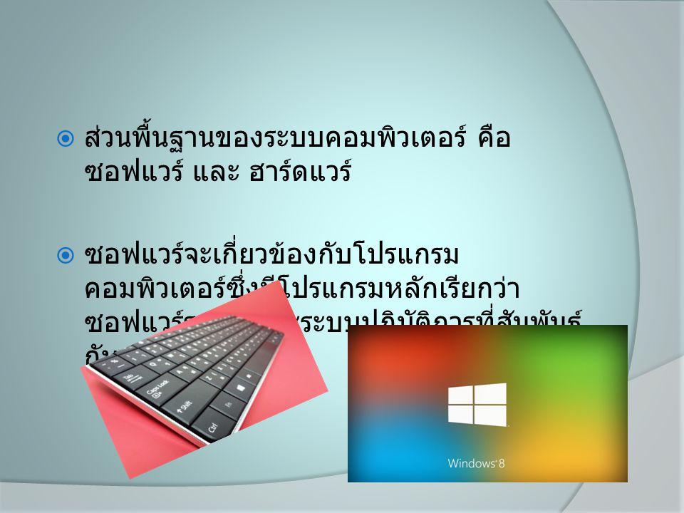  ส่วนพื้นฐานของระบบคอมพิวเตอร์ คือ ซอฟแวร์ และ ฮาร์ดแวร์  ซอฟแวร์จะเกี่ยวข้องกับโปรแกรม คอมพิวเตอร์ซึ่งมีโปรแกรมหลักเรียกว่า ซอฟแวร์ระบบ และระบบปฎิบัติการที่สัมพันธ์ กับฮาร์ดแวร์