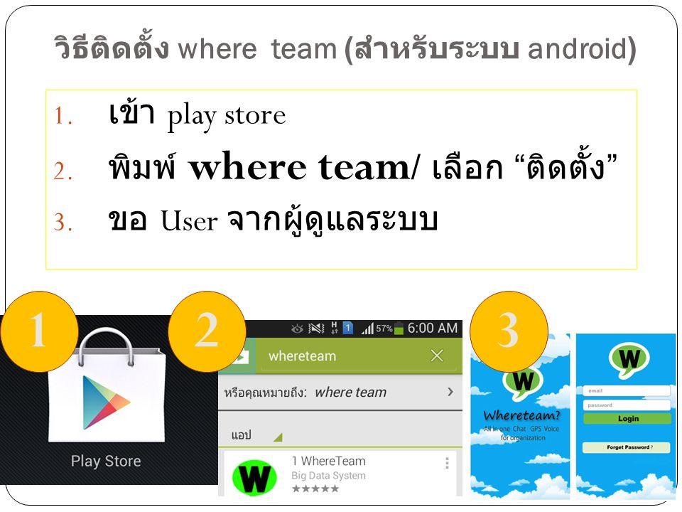 """วิธีติดตั้ง where team ( สำหรับระบบ android) 1. เข้า play store 2. พิมพ์ where team / เลือก """" ติดตั้ง """" 3. ขอ User จากผู้ดูแลระบบ 123"""