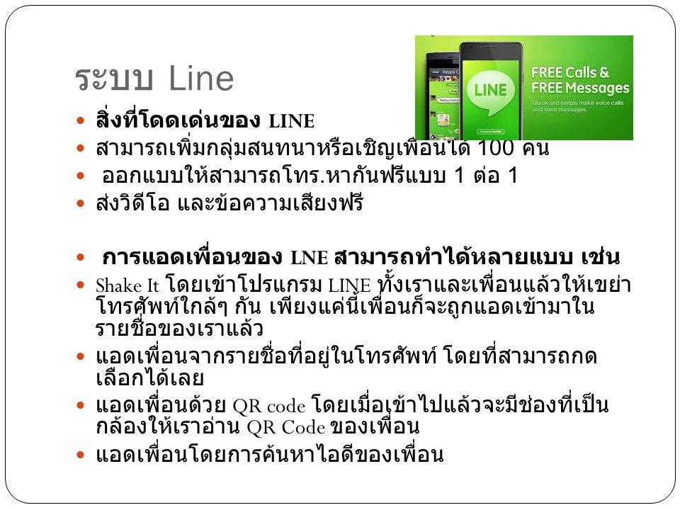 ระบบ Line  สิ่งที่โดดเด่นของ LINE  สามารถเพิ่มกลุ่มสนทนาหรือเชิญเพื่อนได้ 100 คน  ออกแบบให้สามารถโทร.