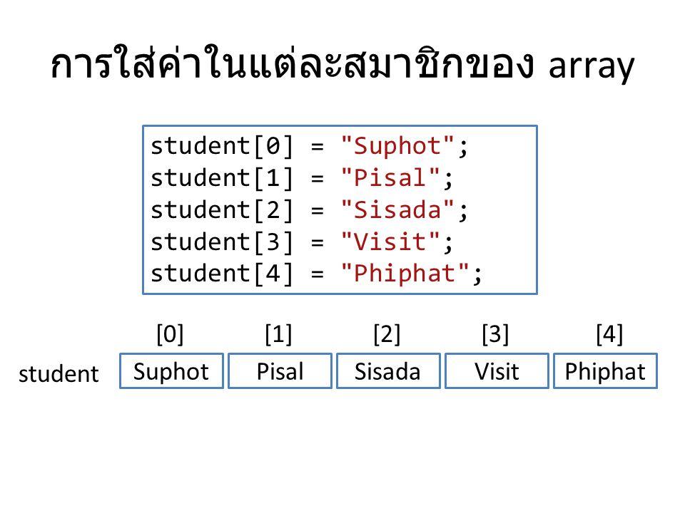 การใส่ค่าในแต่ละสมาชิกของ array student[0] =