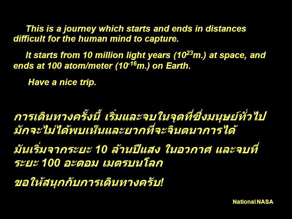 This is a journey which starts and ends in distances difficult for the human mind to capture. It starts from 10 million light years (10 23 m.) at spac