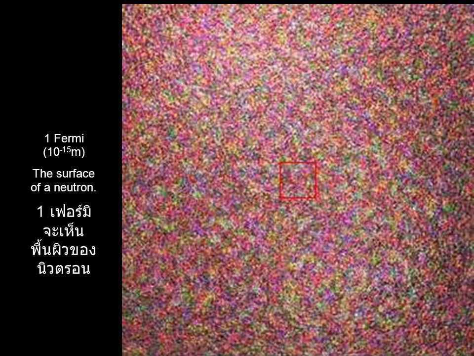1 Fermi (10 -15 m) The surface of a neutron. 1 เฟอร์มิ จะเห็น พื้นผิวของ นิวตรอน