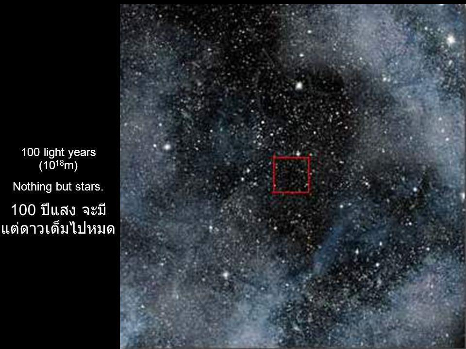 100 light years (10 18 m) Nothing but stars. 100 ปีแสง จะมี แต่ดาวเต็มไปหมด