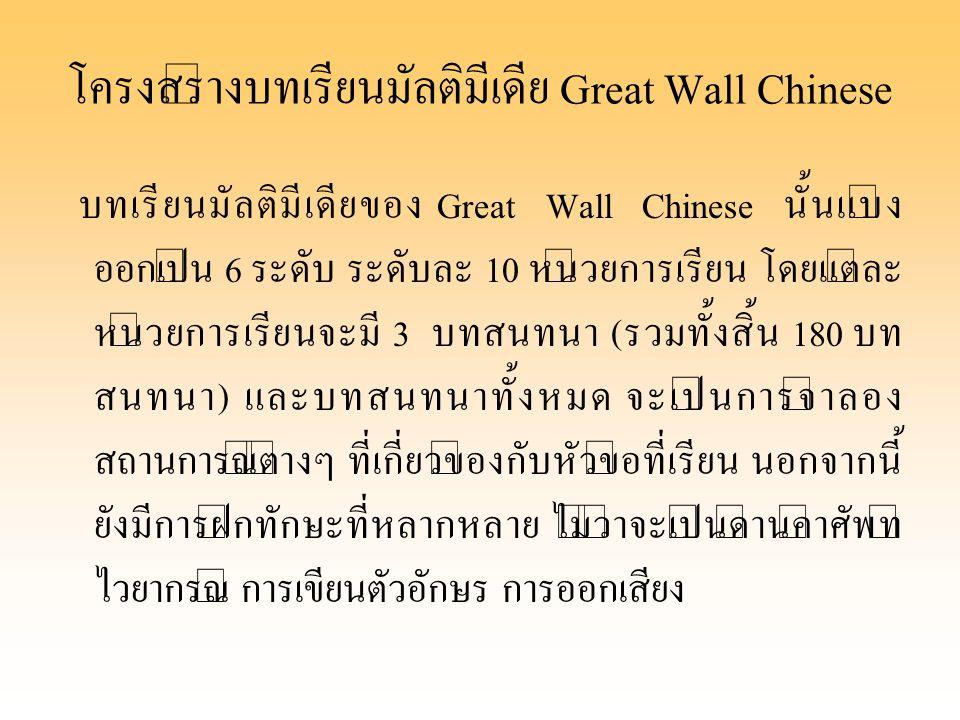 โครงสร้างบทเรียนมัลติมีเดีย Great Wall Chinese บทเรียนมัลติมีเดียของ Great Wall Chinese นั้นแบ่ง ออกเป็น 6 ระดับ ระดับละ 10 หน่วยการเรียน โดยแต่ละ หน่