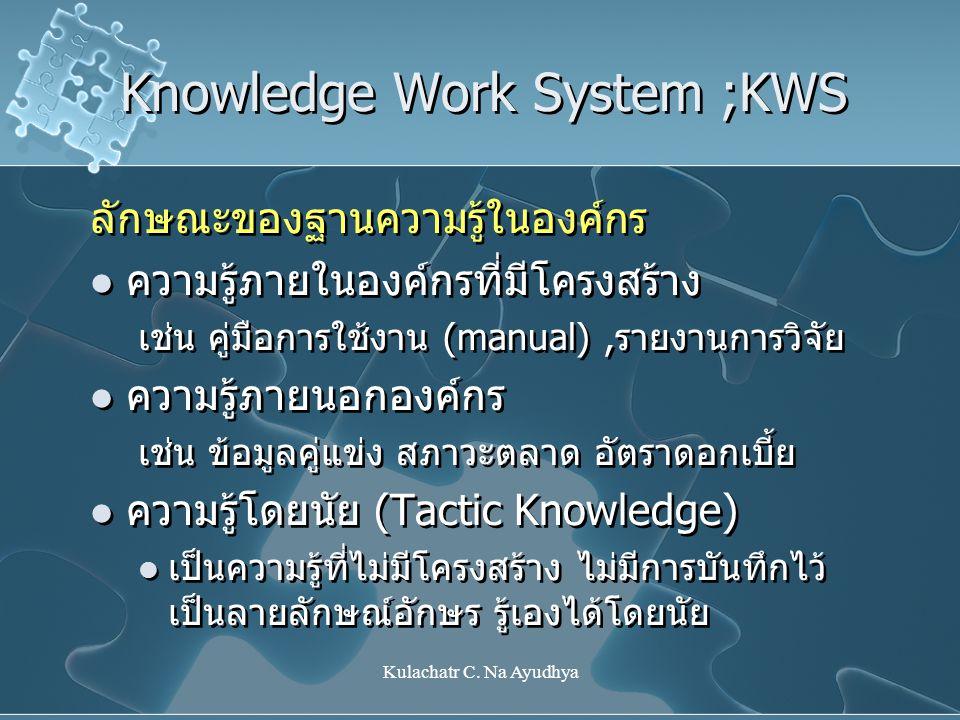 Kulachatr C. Na Ayudhya Knowledge Work System ;KWS ลักษณะของฐานความรู้ในองค์กร  ความรู้ภายในองค์กรที่มีโครงสร้าง เช่น คู่มือการใช้งาน (manual),รายงาน