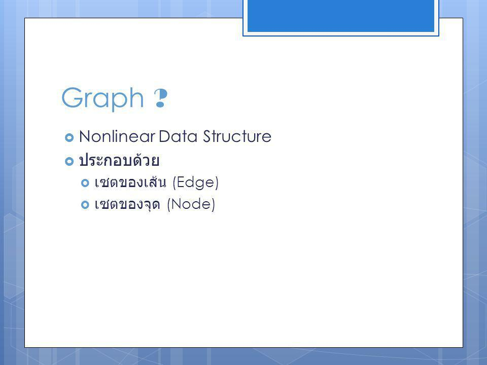 Graph ?  Nonlinear Data Structure  ประกอบด้วย  เซตของเส้น (Edge)  เซตของจุด (Node)