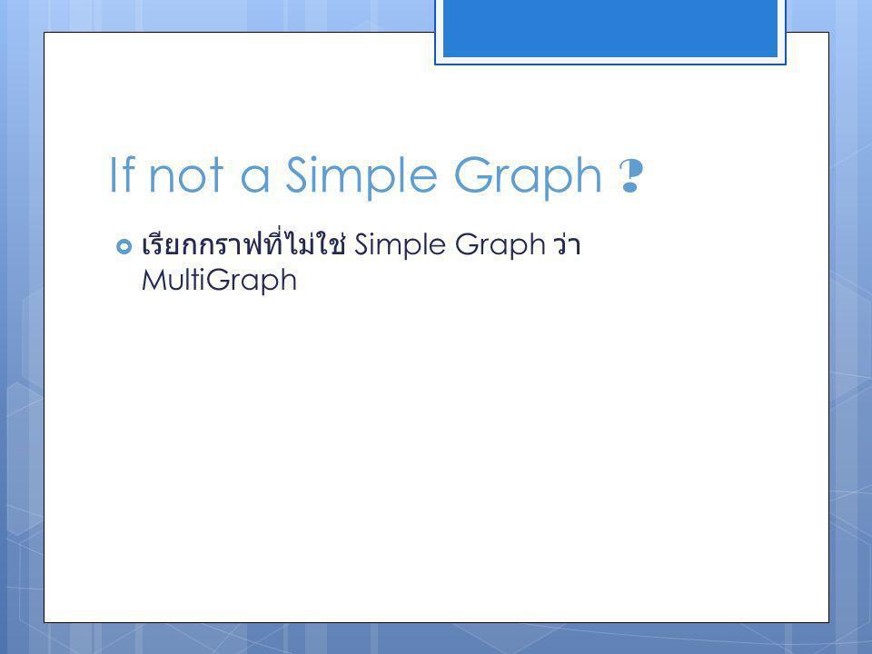 Connected Graph เรียกกราฟ G ว่า Connected Graph ก็ต่อเมื่อ ไม่สามารถแบ่งกราฟ G ออกเป็นสองกราฟย่อยได้ นอกจาก จะมีการตัด Edge ใด Edge หนึ่ง ออกไป An Unconnected Graph