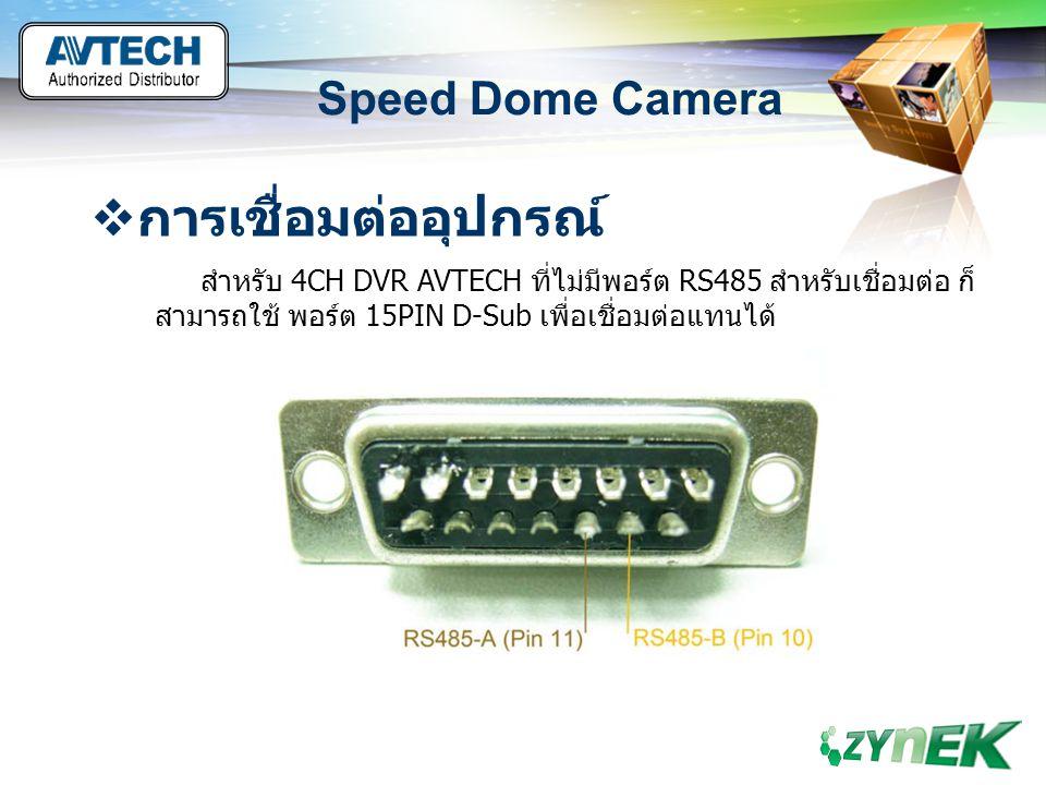 LOGO www.themegallery.com Speed Dome Camera  การเชื่อมต่ออุปกรณ์ สำหรับ 4CH DVR AVTECH ที่ไม่มีพอร์ต RS485 สำหรับเชื่อมต่อ ก็ สามารถใช้ พอร์ต 15PIN D