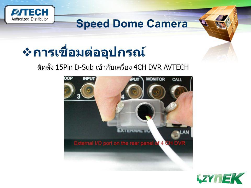 LOGO www.themegallery.com Speed Dome Camera  การเชื่อมต่ออุปกรณ์ ติดตั้ง 15Pin D-Sub เข้ากับเครื่อง 4CH DVR AVTECH