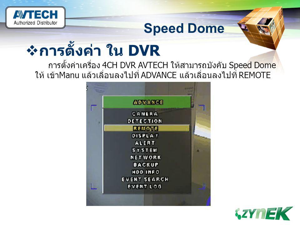 LOGO www.themegallery.com Speed Dome  การตั้งค่า ใน DVR การตั้งค่าเครื่อง 4CH DVR AVTECH ให้สามารถบังคับ Speed Dome ให้ เข้าManu แล้วเลื่อนลงไปที่ AD