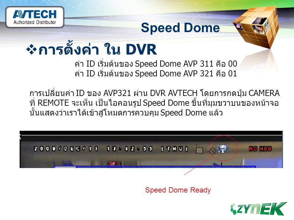 LOGO www.themegallery.com Speed Dome  การตั้งค่า ใน DVR ค่า ID เริ่มต้นของ Speed Dome AVP 311 คือ 00 ค่า ID เริ่มต้นของ Speed Dome AVP 321 คือ 01 การ