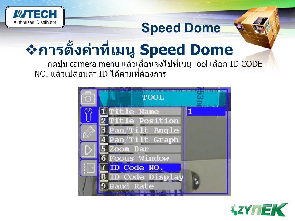 LOGO www.themegallery.com Speed Dome  การตั้งค่าที่เมนู Speed Dome กดปุ่ม camera menu แล้วเลื่อนลงไปที่เมนู Tool เลือก ID CODE NO. แล้วเปลี่ยนค่า ID