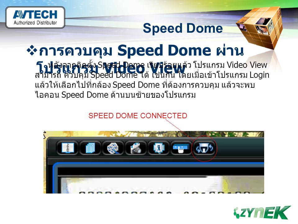 LOGO www.themegallery.com Speed Dome  การควบคุม Speed Dome ผ่าน โปรแกรม Video View หลังจากติดตั้ง Speed Dome เรียบร้อยแล้ว โปรแกรม Video View สามารถ