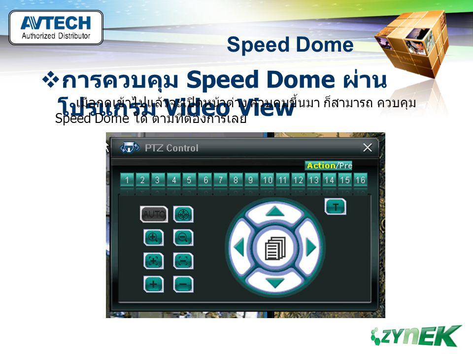 LOGO www.themegallery.com Speed Dome  การควบคุม Speed Dome ผ่าน โปรแกรม Video View เมือกดเข้าไปแล้วจะเปิดหน้าต่าง ควบคุมขึ้นมา ก็สามารถ ควบคุม Speed