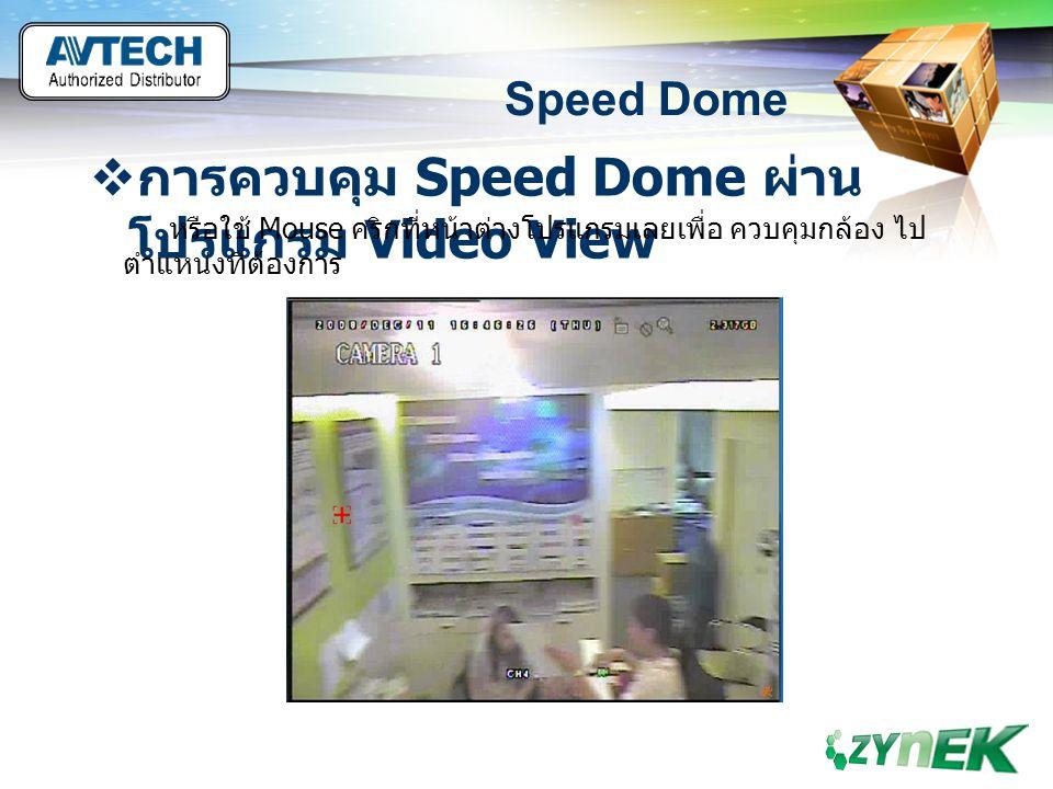 LOGO www.themegallery.com Speed Dome  การควบคุม Speed Dome ผ่าน โปรแกรม Video View หรือใช้ Mouse คริกที่หน้าต่างโปรแกรมเลยเพื่อ ควบคุมกล้อง ไป ตำแหน่